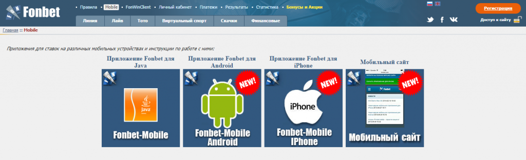 Мобильная версия и приложения букмекерской конторы Fonbet